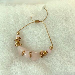 Jewelry - Rose quartz gold pull adjustable bracelet